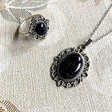 Sady šperkov - Blue Sandstone & Antique Silver Set / Set šperkov so synt. slnečným kameňom - 12785559_
