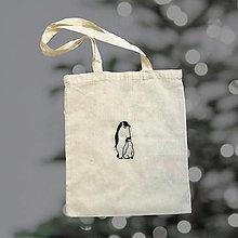 Nákupné tašky - Bavlnená taška s tučniakom - 12786993_