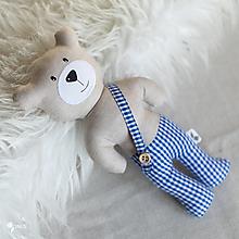 Hračky - béžový macko s modrými nohavicami - 12789480_