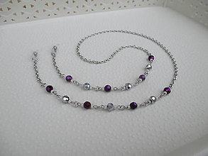 Iné šperky - Retiazka na okuliare - tmavofialovo/strieborná - chirurgická oceľ - 12789047_