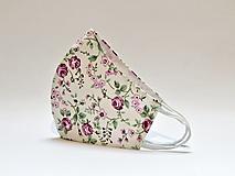 Rúška - Tvarované dvojvrstvové rúško s tričkovinou - ružové kvietky - 12788533_