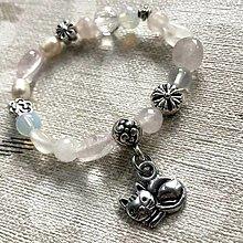 Náramky - Moonstone & Rose Quartz Cat Elastic Bracelet / Detský elastický náramok s mačičkou - 12791027_