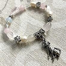 Náramky - Moonstone & Rose Quartz Dog Elastic Bracelet / Detský elastický náramok so psíkom - 12791038_