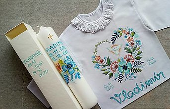 Detské oblečenie - Set do krstu s tyrkysovým makom - 12790781_