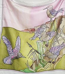 Šatky - Hodvábna šatka Vtáčiky - 12790753_