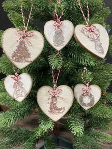 Dekorácie - Sada vianočných srdiečok 6ks - 12790240_