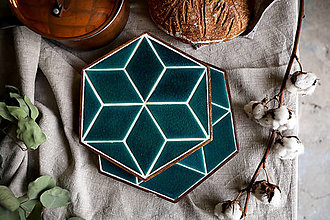 Pomôcky - Podložka pod hrniec - Hexagon (Tyrkysová - veľká) - 12792270_