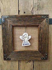 Obrazy - Obraz s rámom zo starého dreva - keramický anjel - 12790449_