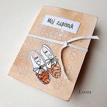 Papiernictvo - Zápisník Marhuľový topánočky A6 - 12793407_