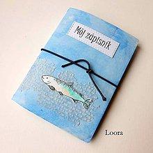 Papiernictvo - Zápisník Modrý rybka A6 - 12793413_