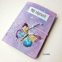 Papiernictvo - Zápisník Fialový motýľ A6 - 12793417_