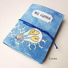 Papiernictvo - Zápisník Modrá žiarovka A6 - 12793426_