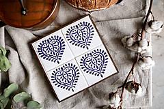 Pomôcky - Podložka pod hrniec s folk motívmi (Podlozka srdce, bielo - modrá) - 12792381_