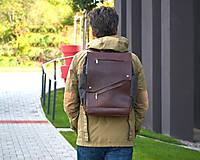 Batohy - Hnedý mestský batoh z kože a voskovaného plátna. - 12793176_