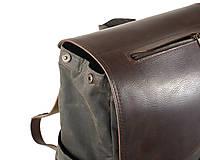 Batohy - Hnedý mestský batoh z kože a voskovaného plátna. - 12793183_