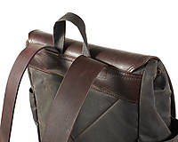 Batohy - Hnedý mestský batoh z kože a voskovaného plátna. - 12793185_