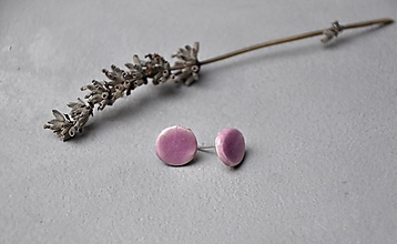 Náušnice - Napichovacie náušnice fialovo ružové - 12793117_