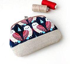 Peňaženky - Peňaženka XL Sovy na modrej - 12792810_