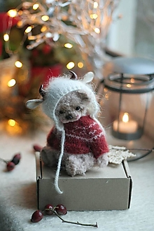 Hračky - Mini medvedik v obleku  býka - 12793888_