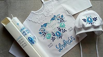 Detské oblečenie - Folk set do krstu s čiapočkou - 12801968_