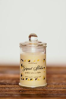 Svietidlá a sviečky - Vonná sviečka - 100% sójový + 100% včelí vosk - Západ slnka - 12800681_