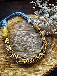 Náhrdelníky - Hořčicový náhrdelník s rokajlem - 12801820_