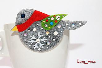 Odznaky/Brošne - Brošnička zimný vrabček s červeným šálom :) - 12802379_