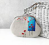 Peňaženky - Peňaženka XL Vlčí mak na modrej - 12802130_