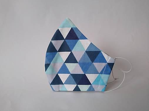 Dizajnové rúško trojuholníky navy tvarované dvojvrstvové