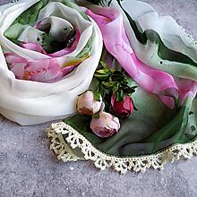 Šatky - Život vodních květin - farebna šatka s čipkou - 12803079_