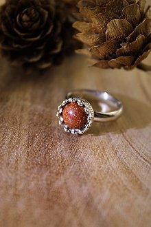 Prstene - prsteň slnečný aventurín v striebre (ródiované striebro) - 12804589_
