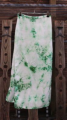 Šály - silk carf_hodvábna šála 180x45cm batika green - 12803579_