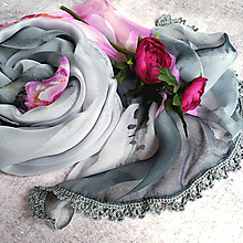 Šatky - Růže ze skal - farebna šatka s čipkou - 12805223_