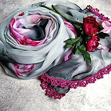 Šatky - Růže ze skal II - farebna šatka s čipkou - 12806724_