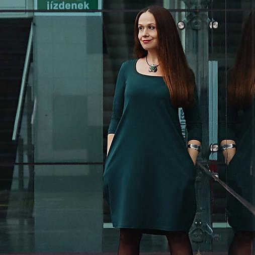 "Šaty - šaty s kapsami ""DARK EMERALD GREEN"" No.5 - 12808041_"