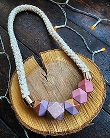 Náhrdelníky - Malované korálky na laně ve fialových tónech - 12807234_