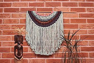 Dekorácie - Mentolové makramé na stenu MANDALA - 12806571_