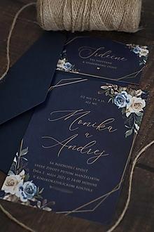"""Papiernictvo - Svadobné oznámenie """"Elegantná modrá"""" ❤ - 12807018_"""