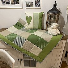 Úžitkový textil - Prehoz, vankúš patchwork vzor olivo zelená s béžovou  ( rôzne varianty veľkostí ) - 12808621_