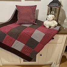 Úžitkový textil - Prehoz, vankúš patchwork vzor vínovo červená s čokoladovou AKCIA vankúš ZADARMO, prehoz 200x200 cm + vankúš 40x40 cm - 12809129_
