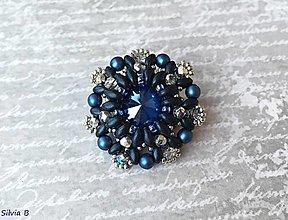 Odznaky/Brošne - Modro-strieborná brošňa - 12810114_