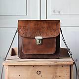 Kabelky - Kožená kabelka Floral satchel *Antique Brown* - 12808238_