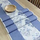 Úžitkový textil - LINA - kvetinové šálky na sivom melíre - stredový obrus - 12808107_