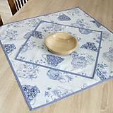 Úžitkový textil - LINA - kvetinové šálky na sivom melíre - štvorec - 12808133_