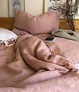Úžitkový textil - Ľanové obliečky Klaudia (Pudrovoružová 50x60cm 140x200cm) - 12809841_