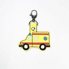 Kľúčenky - Prívesok sanitka (neónová žltá) - 12813419_