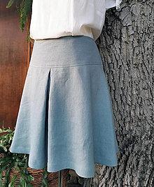Sukne - Ľanová sukňa so sedielkom - 12813272_