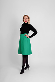 Sukne - Zvonová sukňa s predným štepovaním zelená - 12813156_