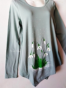 Tričká - Snežienky - maľované tričko organická bavlna - 12816661_