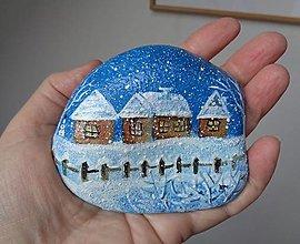 Dekorácie - Na dedinu sype sneh...maľovaný kameň - 12814852_